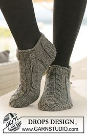 """Ravelry: 125-15 Short socks with cables in """"Alaska"""" pattern by DROPS design"""
