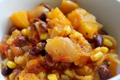 Vegetarian pumpkin, bean & corn stew recipe