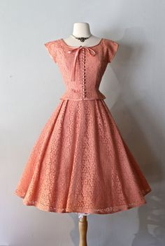 Vintage Dresses Vintage Blush Lace Party Dress ~ Vintage Lace Dress With Full Skirt and Jacket by xtabayvintage on Etsy - Vintage Outfits, 1950s Outfits, Vintage Dresses, Vintage Clothing, Trendy Dresses, Cute Dresses, Beautiful Dresses, Fashion Dresses, Casual Dresses