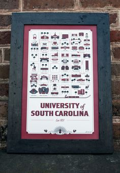 University of South Carolina Map Wholesale University Of South Carolina, University Life, South Carolina Gamecocks, Go Gamecocks, Great American Road Trip, Map Design, Creative Logo, Diy Projects, My Love