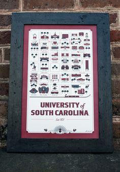 University of South Carolina Map Wholesale University Of South Carolina, University Life, South Carolina Gamecocks, Go Gamecocks, Great American Road Trip, Map Design, College Life, My Love, Prints