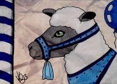 "Aceo Original ""CAROUSEL SHEEP"" pencil/ink ON EBAY"