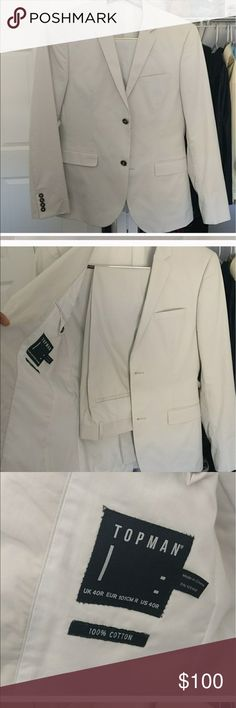 "TopMan light Gray off white tapered Suit Very good condition. Worn once to a white party, then cleaned. No stains. Pants are tapered and meant to fit at top of shoe. Inseam 30"" Topman Suits & Blazers Suits"