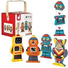 Janod - J07037 - Jouet de Premier Âge - Funny Magnet - Robots: Amazon.fr: Jeux et Jouets