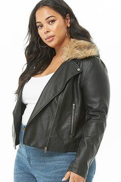 f084dbb8f392f Plus Size Faux Fur-Trim Moto Jacket Curvy Women Outfits