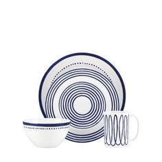 Kate Spade, Hudson Bay, Wine Collection, London Street, Blue Design, China Porcelain, Place Settings, Dillards, Navy And White