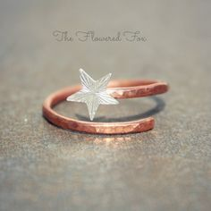 Copper Swirl Midi Ring with Sterling Silver Star