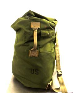 vintage military bag - extra large army backpack duffel