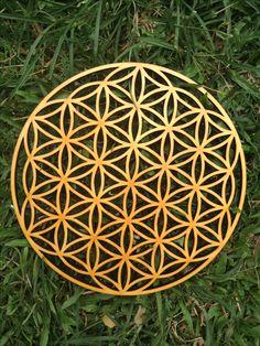 Handmade Flower of Life pattern and laser cut wooden wall art  -  insta @cactuscutsclocks