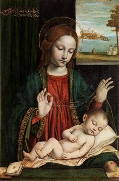 Bergognone (Ambrogio da Fossano), Madonna con il Bambino dormiente (Madonna del velo), 1512-1515 Tempera su tavola.