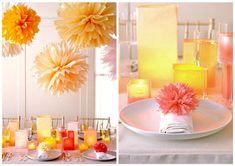 Decoração Festa Casamento com pompom de papel - DIY
