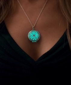 Glowing Necklace - Glowing Jewelry - Glow Pendant - Circle - Glow in the Dark Aqua - Christmas Gifts for Her - Holidays by EpicGlows on Etsy https://www.etsy.com/listing/209751883/glowing-necklace-glowing-jewelry-glow