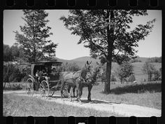 1936. Old Vermont carriage and farm family near North Hyde Park, Vermont. Photograophed by Carl Mydans.
