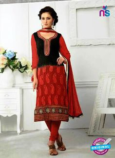 SC 13066 Black and Red Georgette Embroidery Straight Suit