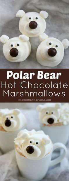 Polar Bear Hot Chocolate Marshmallows - an adorable winter or Christmas treat idea for kids.
