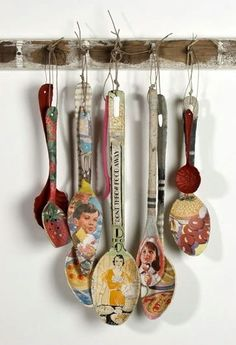 Texas Art Asylum -- decoupaged wooden spoons