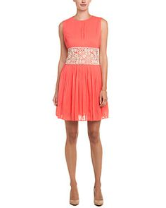 RED Valentino Orange & Beige Crochet Silk Dress