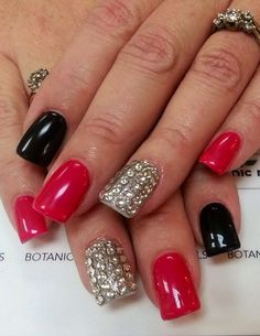 Black silver red nails