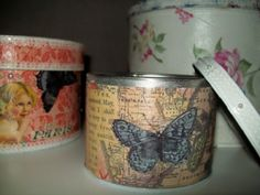 decoupage.........how to........Old tin cans or glass jars could be altered into beautiful decorations and gifts