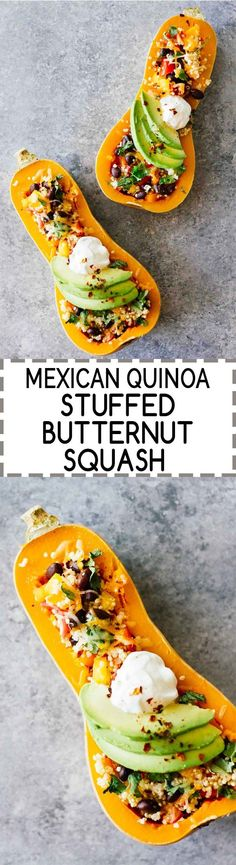 Mexican Quinoa Stuffed Butternut Squash! Vegetarian, gluten-free, SUPER easy to make, loaded with nutrition, and perfect for a healthy weeknight dinner!