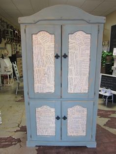 Vintage Sheet Music decopauged on armoire. Chalk Paint® decorative paint by Annie Sloan in Duck Egg blue