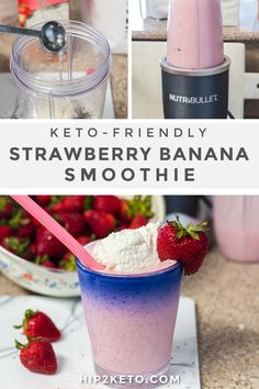 Looking for the perfect refreshing treat to have this summer? This keto strawberry banana smoothie is low carb and easy to make! #keto #ketofriendly #lowcarb #smoothies #ketosmoothies #ketodrinks #ketorecipes #drinkrecipes #lchf #strawberry #strawberryrecipes Keto Smoothie Recipes, Low Carb Smoothies, Keto Recipes, Drink Recipes, Sugar Free Jello Keto, Sugar Free Syrup, Strawberry Blueberry Smoothie, Strawberry Drinks, Low Carb Shakes