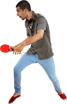#288 T playing ping pong musketeer style. En garde!