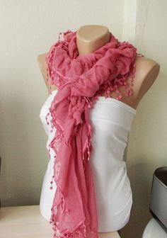 Pink Color Ruffle Scarf from %100 coton with pompom lace $19.00