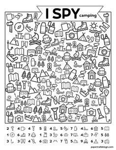 Free Printable I Spy Camping Kids Activity - Paper Trail Design - Free Printabl. - Free Printable I Spy Camping Kids Activity – Paper Trail Design – Free Printable I Spy Camping - Camping Activities For Kids, Camping With Kids, Learning Activities, Kids Learning, Camping Ideas, Camping Recipes, Visual Perceptual Activities, Health Activities, Back To School Activities