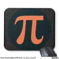 First 10,000 digits of Pi in blue and orange Mouse Pad