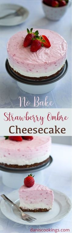 No Bake Strawberry Ombre Cheesecake | Dani's Cookings