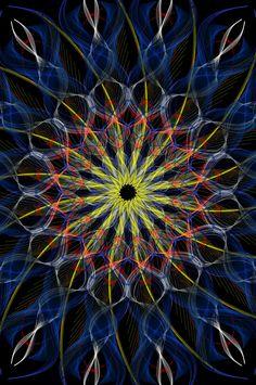 Mandala using mirrorgraph, indian, blue, red, symmetrical
