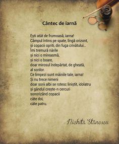 Cantec de iarna de Nichita Stanescu, poezii School Lessons, Literature, Nostalgia, Wisdom, Words, Quotes, Whisper, Romania, Worksheets