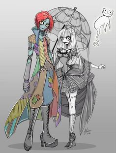 I'm sure the first thing everyone ELSE will notice is the gender bent Jack and Sally but the first thing I noticed was Zero as a Cat XD