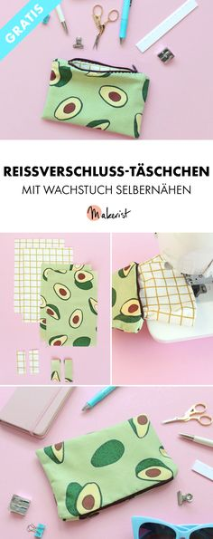 Praktisches Reißverschluss-Täschchen mit Wachstuch selbernähen via Makerist Magazin Zipper Pouch, Save Yourself, Suitcase, Sewing, Pattern, Crafts, Bags, Avocado, Tricot