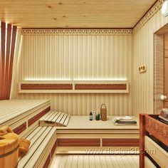 Sauna House, Sauna Room, Apartment Interior Design, Bathroom Interior Design, Finnish Sauna, Spa Rooms, Brick Flooring, Modern Bathroom, Indoor