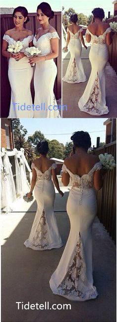 2016 long bridesmaid dresses, prom dresses, mermaid off-the-shoulder long bridesmaid dresses with lace