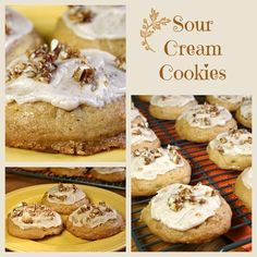 Old fashioned sour cream cookies, soft, cakey, full of nuts and topped with browned butter frosting. #sourcreamcookies #cookierecipes