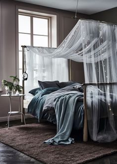 A short way to a cozy bedroom: GJÖRA bed frame, IKEA textile, LED light chains and some inspiration. Cozy Bedroom, Bedroom Sets, Home Decor Bedroom, Modern Bedroom, Girls Bedroom, Master Bedroom, Bedroom Colors, Grey Bedroom Walls, Diy Bedroom Decor For Teens