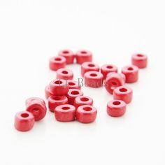 100pcs Greece Ceramic Cylinder Beads - Red 6x4mm (704)