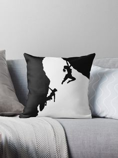 Black silhouettes against white, keeping it simple, of two women rock climbing, drawing and design by J.M.Tellam BA (hons) copyright Mindgoop • Also buy this artwork on home decor, apparel, stickers, and more.