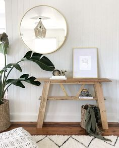 Home Decor Items Chic boho coastal home tour. Coastal entry with brass mirror and timber console.Home Decor Items Chic boho coastal home tour. Coastal entry with brass mirror and timber console. Coastal Bedrooms, Coastal Living Rooms, Coastal Homes, Simple Bedrooms, Coastal Wall Decor, Cool Bedroom Furniture, Bedroom Decor, Furniture Ideas, Cheap Furniture