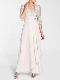 """Laura Petites: for women 5' 4"""" and under. Laura Petites. Scoop neck. Sleeveless. Sequined upper. Jewelled trim. Matching bolero. Back zip with hook"""