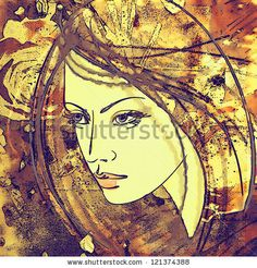 art colorful sketching beautiful girl face on sepia background by Irina_QQQ, via ShutterStock
