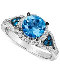 Le Vian Blue Topaz (1-1/5 ct. t.w.) and Diamond (3/8 ct. t.w.) Ring in 14k White Gold