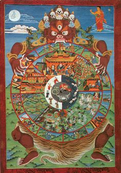 Wheel of Life (Bhavacakra) - The images in the hub of the wheel represents the three poisons of ignorance, attachment and aversion. The second layer represents karma. The third layer represents the six realms of samsara. The fourth layer represents the 12 links of dependent origination. The fierce figure holding the wheel represents impermanence. The moon above the wheel represents liberation from samsara or cyclic existence. The Buddha pointing to the moon indicates that liberation is…