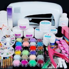 49.99$  Watch here - http://alitlo.worldwells.pw/go.php?t=32564548857 - 9w Uv Lamp Acrylic Nail Gel Manicure Set Nails Art Uv Gel Kits Sets Tools Brush Tips Glue Glitter Powder Base Top Coat Cleanser 49.99$