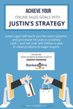 Justin Ligeri will teach you the exact systems and processes he uses to routinely rank #1 and sell over $40 million a year in retail #products to eager buyers.