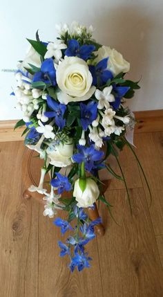 Blue and White Teardrop Bouquet