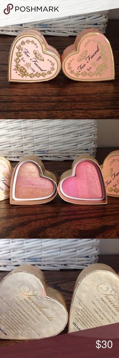 Too Faced Sweetheart Blushes 2 Too Faced Sweetheart Blushes used 1x.  Candy Glow and Peach Beach.  Awesome product! Like New purchased both for 60$ will sell as a BOGO at 30$ price is firm 💕 Too Faced Makeup Blush